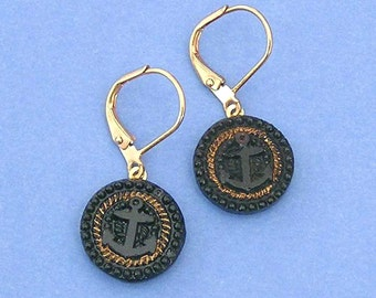 1800s Black Glass Button Earrings with Anchors