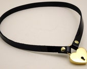 Simple Patent Leather Submissive Collar with Locking Heart gold-toned - Free US Shipping