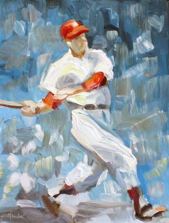 "Baseball: Duke's Up, oil on masonite panel 14""x11"" by Kenney Mencher"
