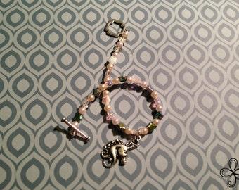 Glass Pearl and Czech Star Unicorn Charm Bracelet