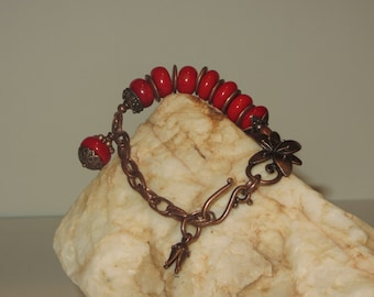Red, Red Coral and Copper Charm Bracelet