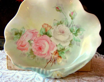 Vintage Hand Painted White Porcelain Shell Dish with Pink and White Roses, 1955, Shabby Chic