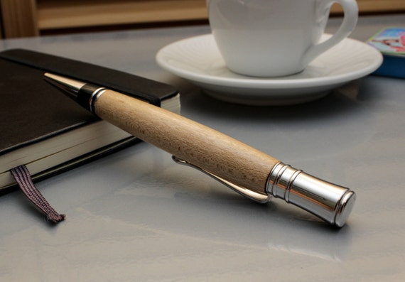 Executive Style Ballpoint Pen - Sugar Maple Wood with Rhodium Accents (Gift Ready)