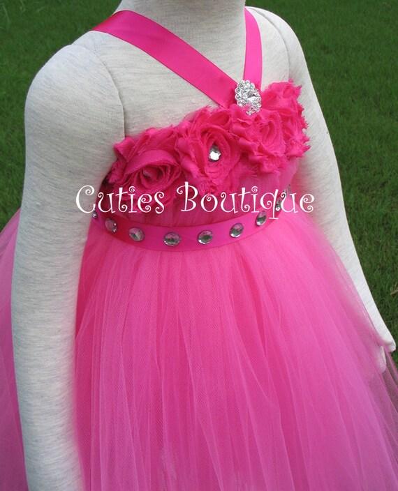 Hotpink flower girl dress wedding dress birthday by cutiesboutique