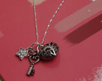 Heart Charm Necklace, Sterling Silver Skeleton Key and Crystal Star Charm on Serpentine Chain. Gift for Her. Gift Under 100