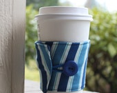 Masculine Striped Coffee Sleeve / Coffee Cozy - Blue Striped Cup Holder - Coffee Shop Cup Sleeve - Cardboard Cup Wrap - Men's Coffee Cuff