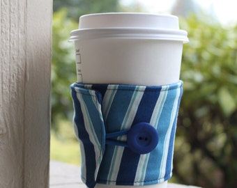Masculine Striped Coffee Sleeve / Coffee Cozy - Blue Striped Cup Holder - Coffee Shop Cup Sleeve - Cardboard Cup Wrap - Men's Coffee Cuff