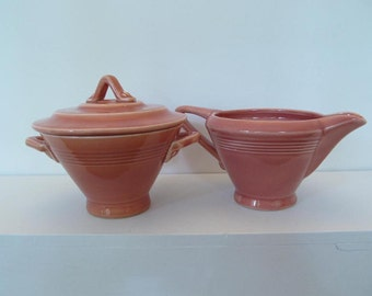 Red Harlequin Rose creamer and lidded sugar Homer Laughlin