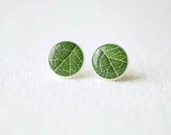 Green Leaves Ear Studs - Botanical stud earrings - BUY 2 GET 1 FREE