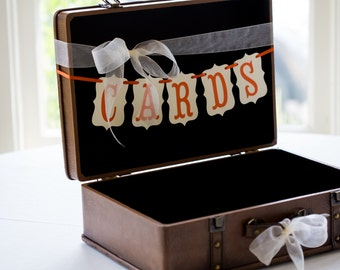 Cards mini bunting banner, suitcase cards, birdcage cards, wedding, custom colors available, wedding, bridal planning