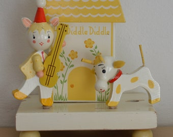 Vintage Hey Diddle Diddle Nursery Rhyme Scene Room Decor item or Figurine