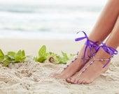 Wedding foot jewelry, purple bridesmaid jewlery, wedding anklet, beach wedding footless sandals, nude shoes. GEORGIA Ultra Violet