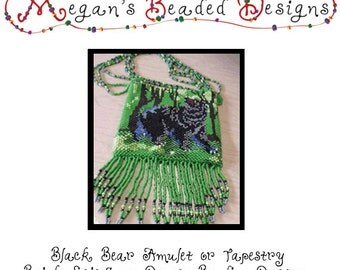 Black Bear Amulet or Mini Tapestry Beading Pattern PDF