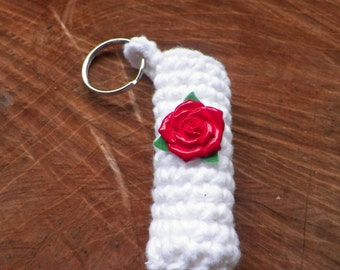 Crochet Chapstick Lip Balm Keychain or Necklace Cozy White with a Red Rose