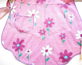 Vintage Apron, Handmade, Pink and White Check