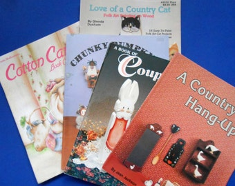 Wood Painting Books, Love of a Country Cat, a Country Hang-up, Country Bumpkins and Co., A Book of Couples, Cotton Candy