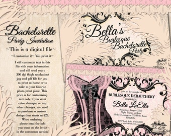Burlesque Bachelorette Party Invitation, Lingerie Shower Invitations, Bachelorette Party