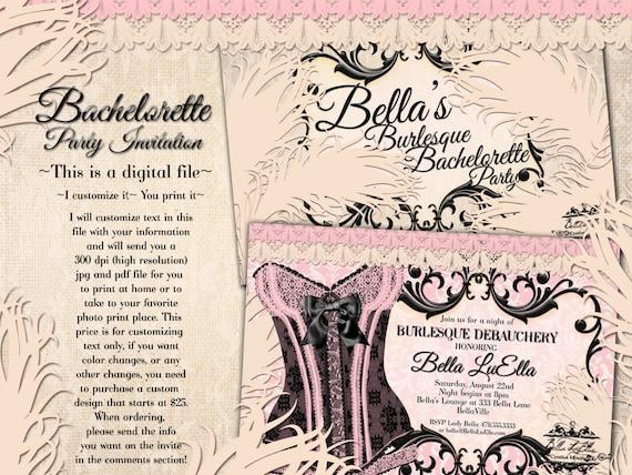 Burlesque Bachelorette Party Invitation Lingerie Shower