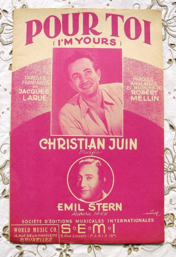 Vintage French 1950's Song / Sheet Music - I'm Yours (Pour Toi)