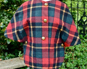 Cape Tartan Plaid Jacket Country Place Wool Red Green Yellow Plaid 60's Mad Men with Brass Buttons