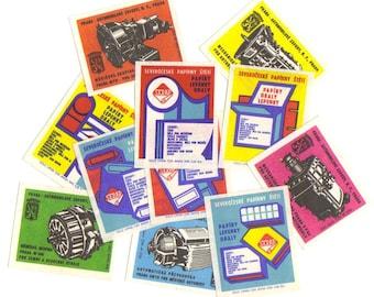 SALE 11 Vintage Matchbox Labels from Czech Republic - Set nº 30