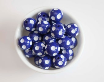 Royal Blue Polka Dot 20mm Chunky Beads 10 ct for Bubblegum Necklace - 20mm Beads
