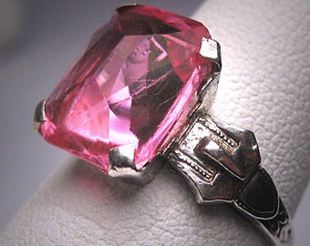 Antique Pink Sapphire French Paste Buckle Ring Silver Art Deco 1920's Wedding