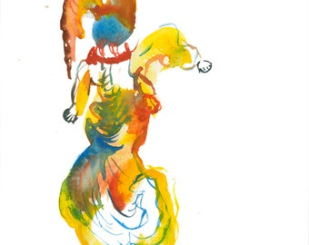 """Original Watercolor Abstract Art Figure Painting featuring Funny Character Illustration 6"""" x 6"""" - 233"""