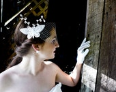 Whisker Whispers - Two White Venetian Lace Butterflies Bridal Fascinators With Birdcage Veil