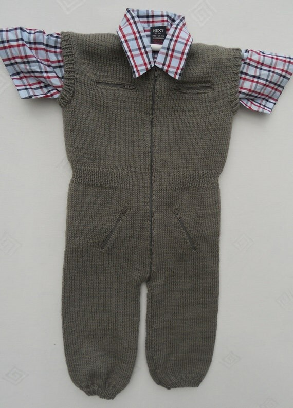 All in one suit/jumpsuit/bodysuit for a baby boy/toddler, hand knitted in merino wool age 6 to 12 months, 20in chest
