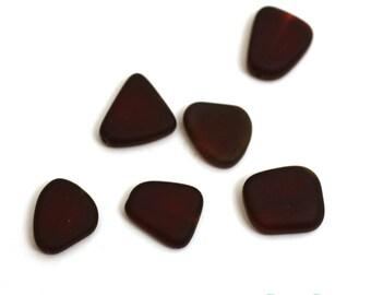 Red Glass Small Freeform Beads. Red Sea Glass Organic Flat Beads. 13 - 16mm Small Freeform Beads. Wholesale Sea Glass Beads // B05MF