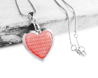 Get 15% OFF - Double Sided - Handmade Resin Red Retro Pattern Silver Heart-shape Locket Necklace - Mother's Day SALE 2017