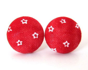 Red star earrings - red button earrings - tiny stud earrings - cute fabric earrings - handmade jewelry white - birthday gift