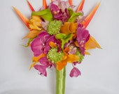Fuchsia Orange and Green Orchid and Calla Lily Bouquet