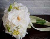 White Rose and Hydrangea Wedding Bouquet - Silk Wedding Bouquet