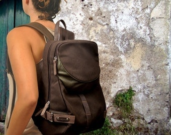 Backpack in cotton canvas with leather details, Notella in chocolate brown color.MADE TO ORDER