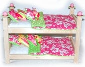 Double Doll Bunk Bed - Hawaiian American Made Girl Doll Bunk Bed - Fits 18 inch dolls and AG dolls