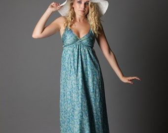 SALE! Pastel Blue - soft blue halter-neck maxi dress (size 6-8-10 short) S/M