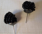Vintage / WOVEN SEED BEAD / Earrings / Pierced / Black / Retro / Classic / Modernist / Hipster / Fashionista / Stylish / Chic / Accessories