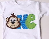 birthday shirt, one, monkey, 1st,  t shirt, barnyard, circus theme, boy white