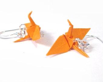 "Origami Crane earrings Miniature 3/4""   - Orange Paper Crane Earrings Solid Color"