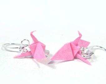 "Origami Crane earrings Miniature 3/4""   -  Bright Pink Paper Crane Earrings Solid Color"