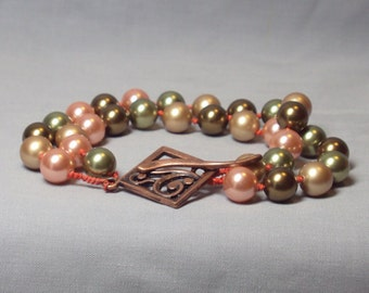 pink green olive brown glass pearl two strand bracelet