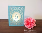 Merci Wedding Table Number Luminary, Table Markers, Table Decor, Luminaries, Paper Luminaries, Laser Cut Table Numbers