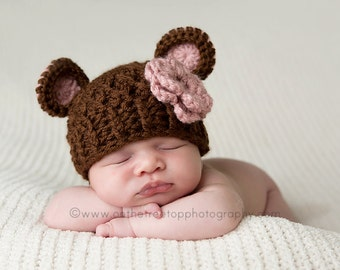 NEWBORN Baby Girl Hat, Baby Girl Bear Hat, Brown, Country Pink Ears. Baby Hat, Girl Hat County Pink Flower. Photo Props. Baby Shower Gift