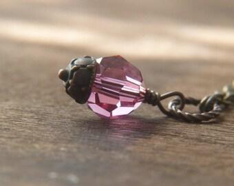 Pink Crystyal Necklace - Swarovski Crystal Pendant Necklace - Pink Swarovski Necklace - Shimmer Sparkle Glitter Jewelry