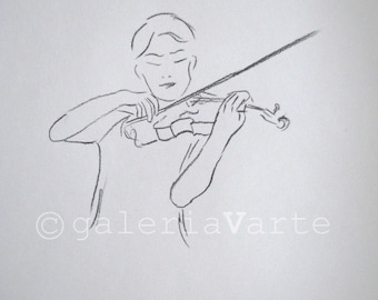 charcoal drawing original - violinist - music performer - europeanstreetteam