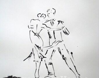 Original ink drawing - Tango Dance - europeanstreetteam