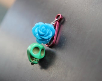 Sugar Skull and Blue Rose Zipper Pull Charm