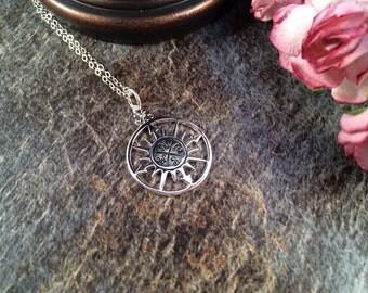 Graduate,Compass Necklace, Silver Compass Necklace, Silver Necklace, Necklace Charm, Nautical Necklace, Beach Necklace